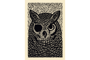 "OWL - Woodcut print, Oil-based ink on cotton rag paper, 13.75"" x 10.5"", $120.00"