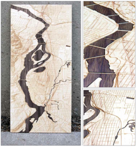 "Willamette River Series 'A' - Maple with Purple Heart Inlay 9"" x 9"" x 1"""