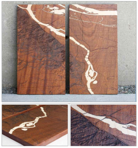 "Willamette River Series 'A' - Walnut with Maple Inlay 20 ""x 6.75"" x 1"""
