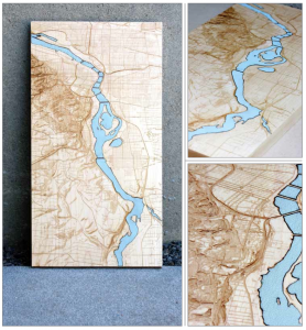 "Willamette River Series 'A' - Maple with Blue Leather Inlay 9"" x 17"" x 1"""